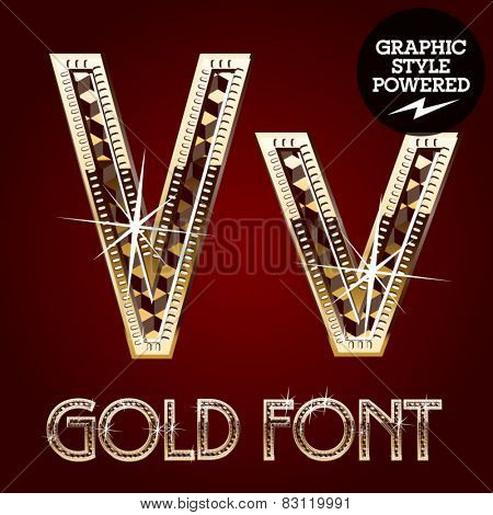 Vector set of gold rich alphabet with diamonds. Letter V