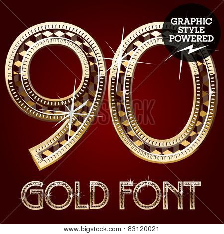 Vector set of gold rich alphabet with diamonds. Numbers 9 0