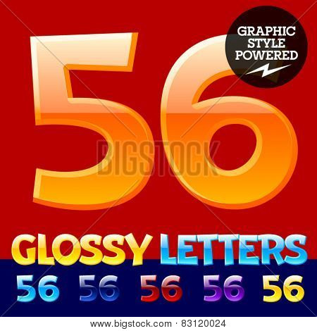 Vector set of glossy modern alphabet in different colors. Numbers 5 6. Also includes graphic styles