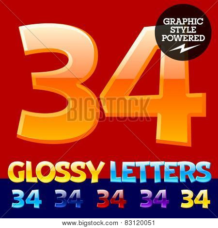 Vector set of glossy modern alphabet in different colors. Numbers 3 4. Also includes graphic styles