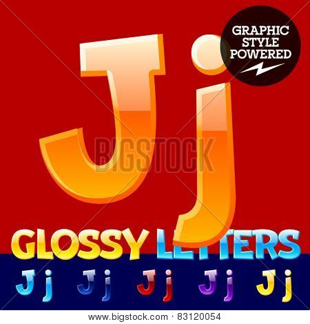 Vector set of glossy modern alphabet in different colors. Letter J. Also includes graphic styles