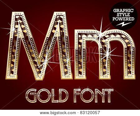 Vector set of gold rich alphabet with diamonds. Letter M