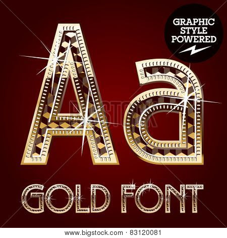 Vector set of gold rich alphabet with diamonds. Letter A