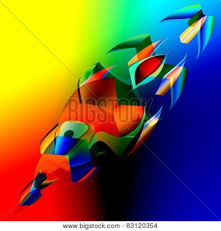 Interesting colorful abstract 3d fish. Art illustration. Digitally generated colourful image.