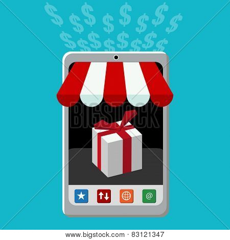 An image of a retail mobile purchase icon.