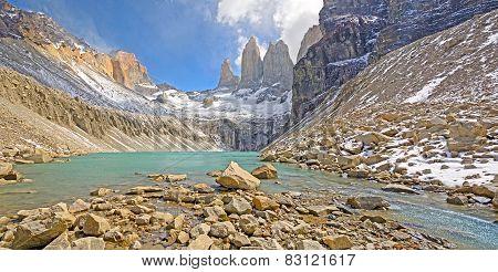 Panoramic View Of An Alpine Lake