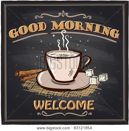Good morning chalkboard cafe sign with coffee mug.