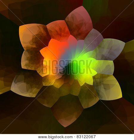Abstract colorful flower fractal background. Creative geometric art. Artistic fantasy image.