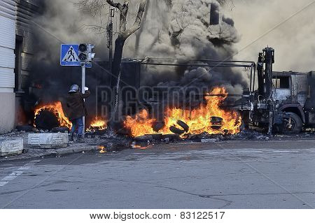 Protestor Near Ablaze Car