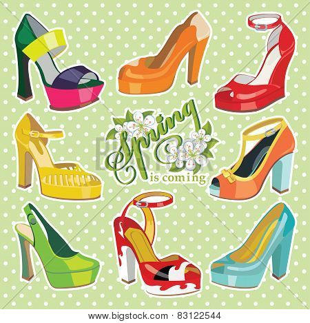 Colorful fashion womens High heel shoes.Spring