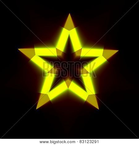 Abstract black background with bright star shape. Dark digital backdrop with glowing yellow symbol.
