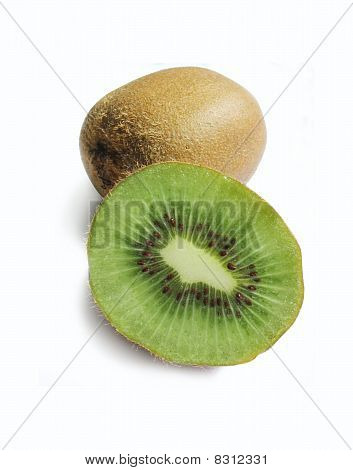 Kiwi Fruit On A White Background - With Clipping Path