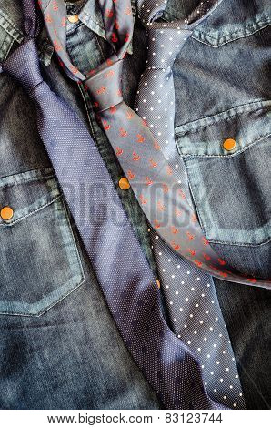 Denim Vintage Shirt With Three Ties