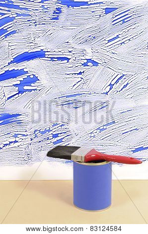 White Wall With Untidy Blue Paint