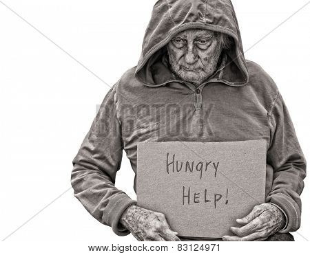 A sad Senior Homeless man isolated on white