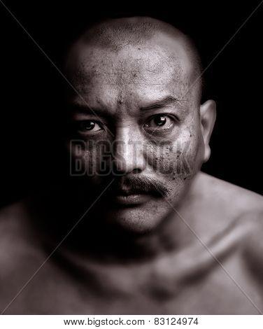 Nice emotional Portrait of a vietnamese man on Black