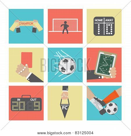 Football Or Soccer Icons Set.
