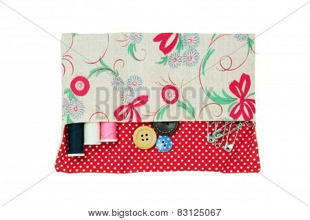 Sewing Kit In Handmade Bag Isolated On White