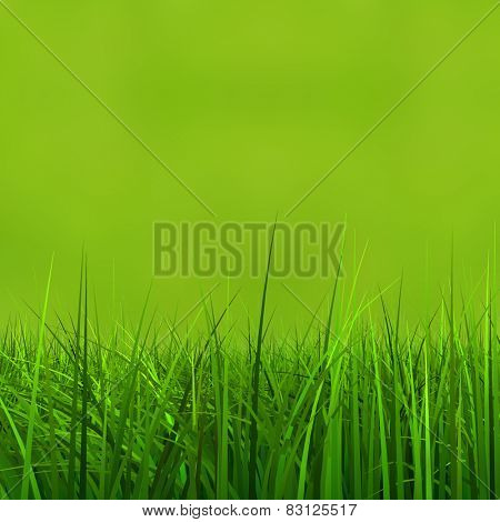Concept or conceptual green, fresh and natural 3d grass field or lawn on green background in spring or summer