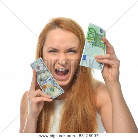 Happy Young Woman Holding Up Cash Money One Hundred Euro And Dollars