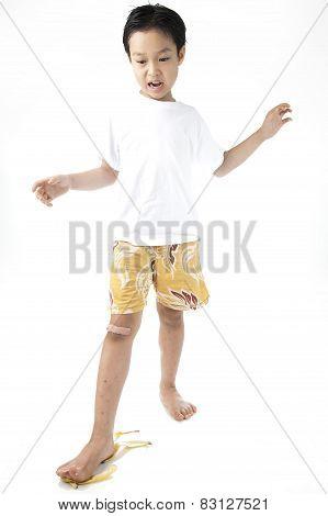 Boy Step On Banana Shell Slipping