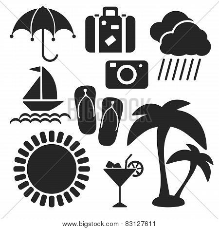 Set Of Summer Web And Mobile Icons. Vector.