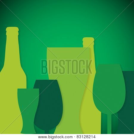 Overlay Beer Bottle And Glass St. Patrick's Day Card In Vector Format.