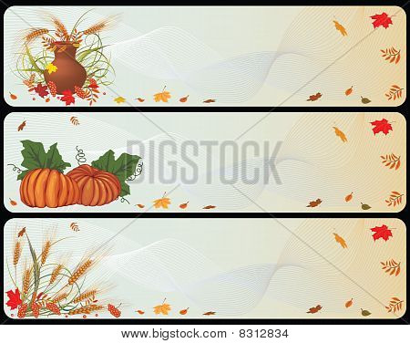 set of autumnal banners