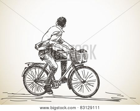 Sketch of bicyclist looking back, Hand drawn Vector illustration