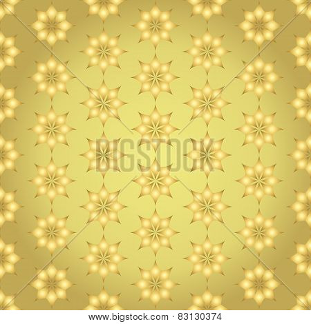 Gold Classic Rhomboid Flower Seamless Pattern