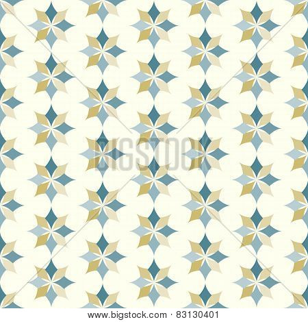 Dark Blue And Brown Classic Rhomboid Flower Seamless Pattern