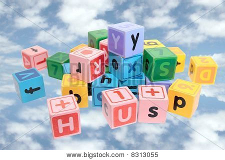 Assorted Play Blocks On Clouds