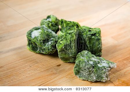Frozen Spinach on Chopping Board