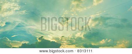 Summer Evening Cloudy Sky - Panoramic Photo