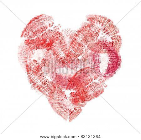 heart from red lips imprints isolated on white background