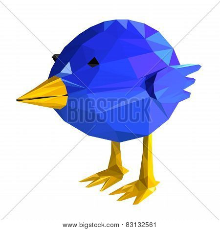 Blue bird geometric. illustration of a many triangles