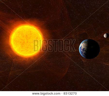 Sol com a terra e a lua