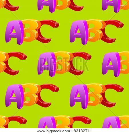 Childlike doodle ABC seamless pattern, flat design.