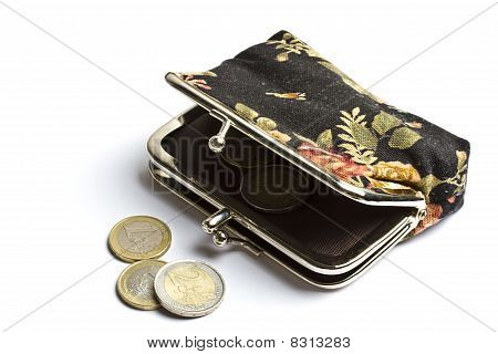 Purse With Euro Coins Isolated On White