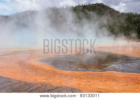 Foggy Grand Prismatic Spring in Yellowstone National Park