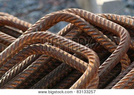 Stack Of Bent Rusty Rebars