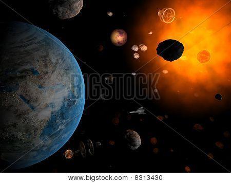 Nave espacial e sistema vermelho