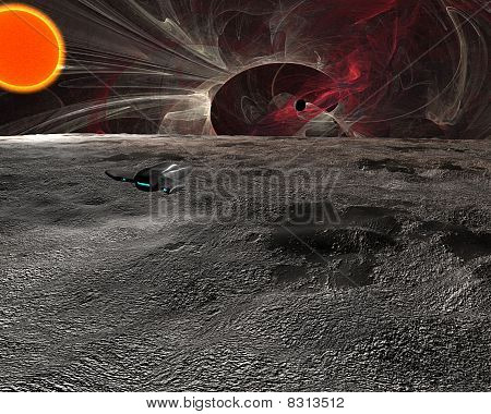 Space Scene Of Surface Of Planet With Spaceship