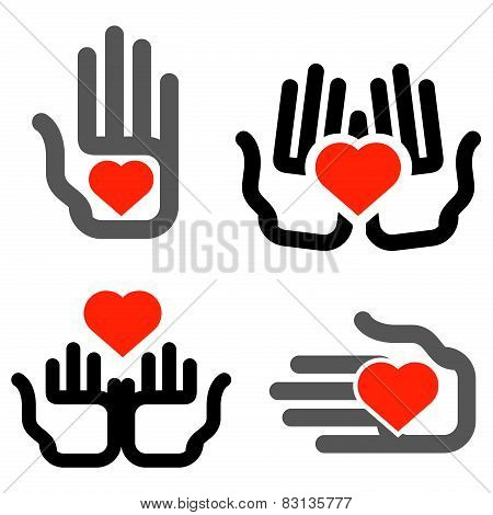 hands and heart vector logo design template. medicine or charity icon.