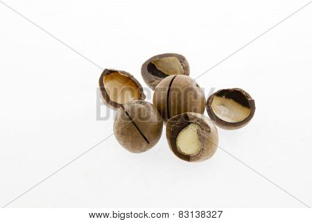 Shelled And shelled Macadamia Nuts On White Background