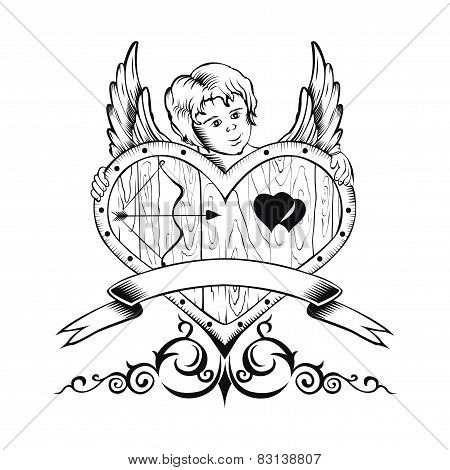 Illustation of Valentine's Day card with heart and Cupid.