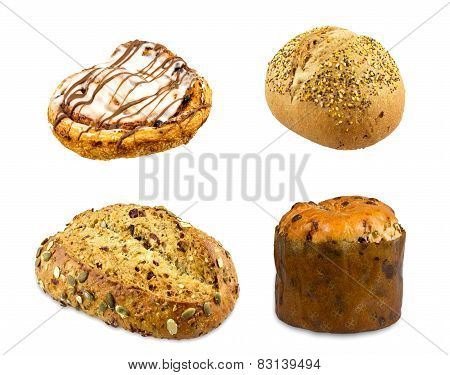 Sweet dough panettone, Chocolate danish, Cranberry Pumpkin Bread and Seeded Malt Roll isolated on wh