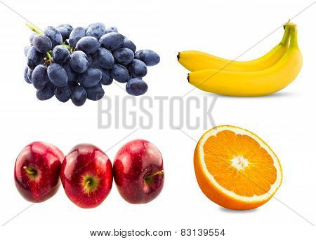Fresh sliced orange fruit, Branch of blue grapes, Red apples and Two bananas  isolated on white back