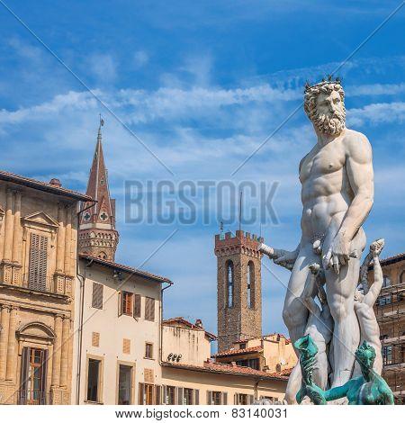 Neptune Statue In Piazza Della Signoria - Florence, Italy