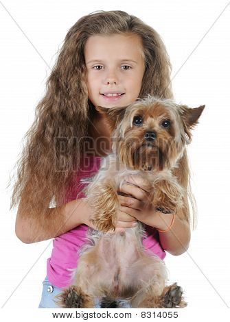 Beautiful Girl With A Dog In Her Arms.